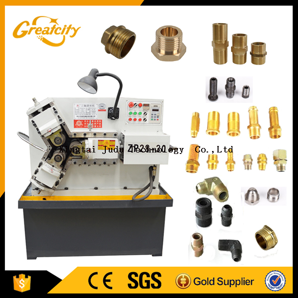 Three shaft automatic small pipe thread rolling machine for set screws and meter screws